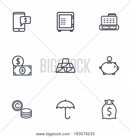 Set Of 9 Finance Outline Icons Set.Collection Of Electron Payment, Protect, Safe And Other Elements.