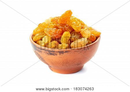 Ceramic bowl  with golden raisins isolated on white background
