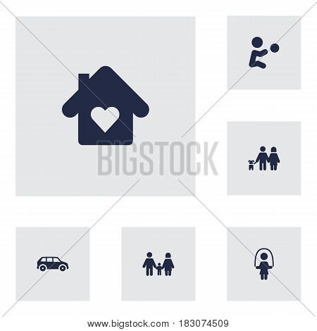 Set Of 6 People Icons Set.Collection Of House, Walking, Automobile And Other Elements.