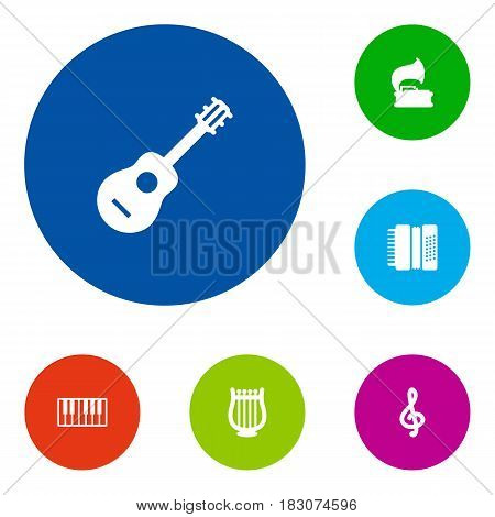 Set Of 6 Music Icons Set.Collection Of Turntable, Acoustic, Octave Keyboard And Other Elements.