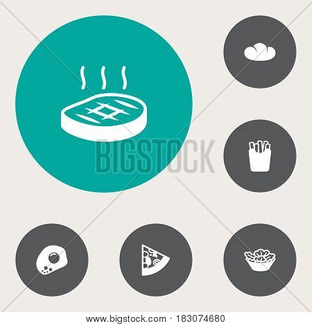 Set Of 6 Eat Icons Set.Collection Of Baguette, Eggs, Beefsteak And Other Elements.