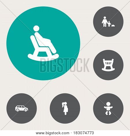 Set Of 6 Relatives Icons Set.Collection Of Father With Son, Automobile, Rocking Chair And Other Elements.