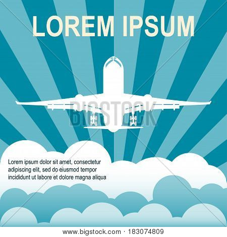 Air travel Vector illustration Background with colorful airplanes Poster template with space for text The silhouette of airplane is flying among the clouds Flat design