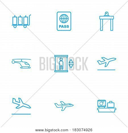 Set Of 9 Aircraft Outline Icons Set.Collection Of Flight, Airport Security, Elevator And Other Elements.