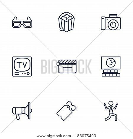 Set Of 9 Entertainment Outline Icons Set.Collection Of Tv Set, Dancing Man, Photo Camera And Other Elements.