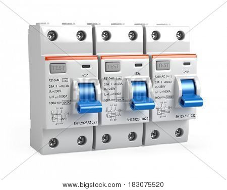 Three Circuit breakers isolated on white - 3d render