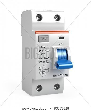 Circuit breaker isolated on white - 3d render