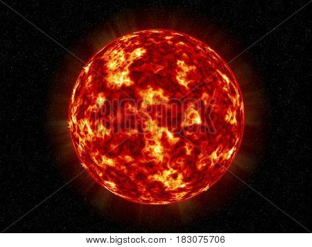 Computer generated Sun over outer space with stars