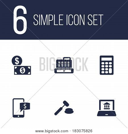 Set Of 6 Budget Icons Set.Collection Of Cashbox, Calculate, Online Banking And Other Elements.