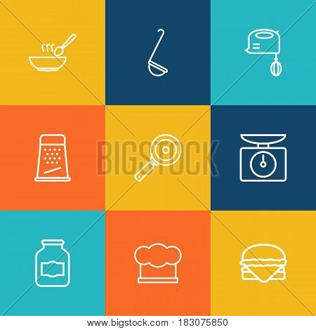 Set Of 9 Cooking Outline Icons Set.Collection Of Grater, Ladle, Hamburger And Other Elements.
