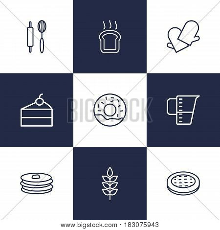 Set Of 9 Stove Outline Icons Set.Collection Of Donuts, Measuring Cup, Pancakes And Other Elements.
