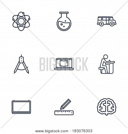 Set Of 9 Studies Outline Icons Set.Collection Of Laptop, Pupil, Brain And Other Elements.