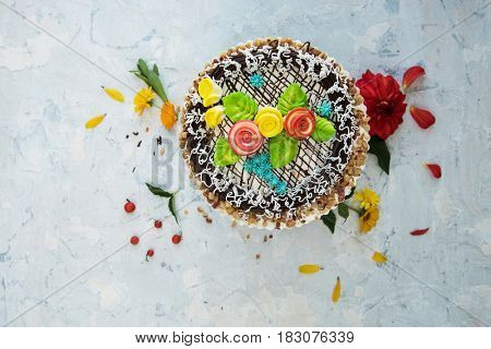cakes composition on concrete background