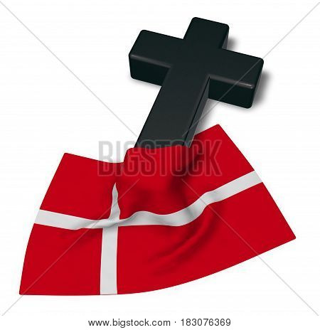 christian cross and flag of denmark - 3d rendering