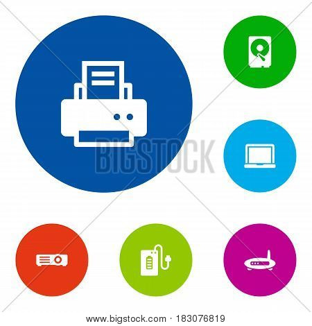 Set Of 6 Laptop Icons Set.Collection Of Router, Supply, Show And Other Elements.