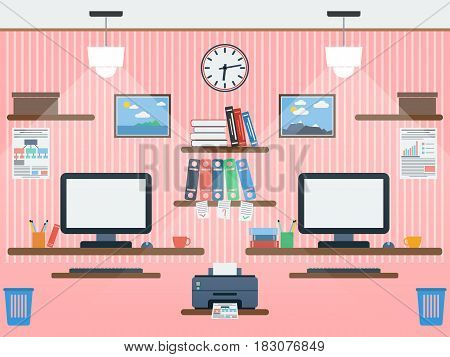 Common workspace flat design style vector illustration