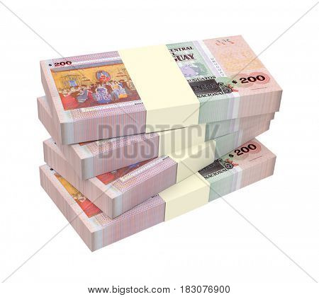 Uruguayan peso bills isolated on white background. 3D illustration.