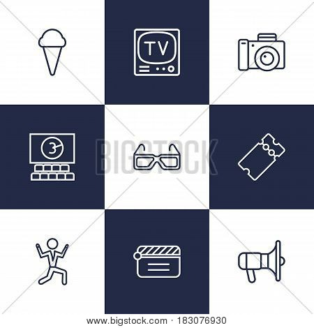 Set Of 9 Entertainment Outline Icons Set.Collection Of Tv Set, Ticket, Bullhorn And Other Elements.