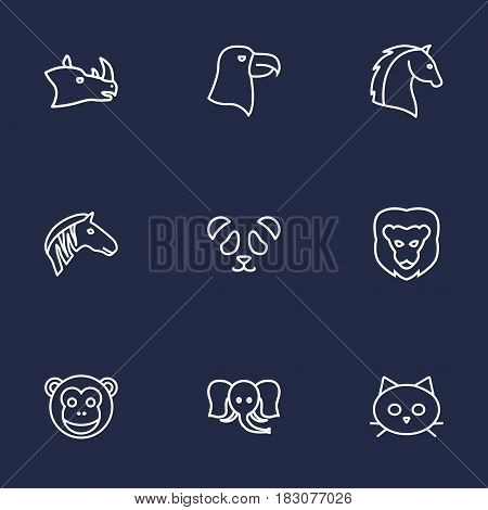 Set Of 9 Brute Outline Icons Set.Collection Of Rhino, Elephant, Mammal And Other Elements.