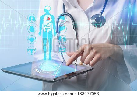 Doctor working on a virtual screen. medical concept