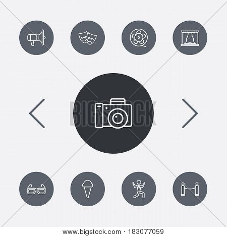 Set Of 9 Pleasure Outline Icons Set.Collection Of Theater, Barrier Rope, 3D Glasses And Other Elements.