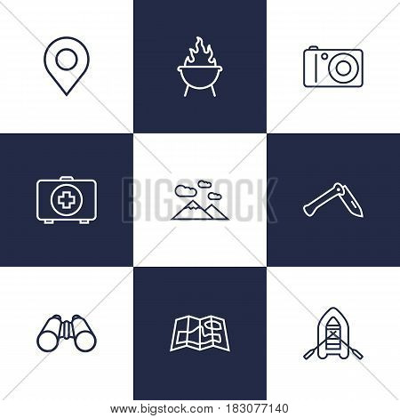 Set Of 9 Picnic Outline Icons Set.Collection Of Mountains, Penknife, Photographing And Other Elements.