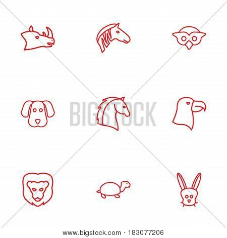 Set Of 9 Alive Outline Icons Set.Collection Of Eagle, Owl, Mammal And Other Elements.