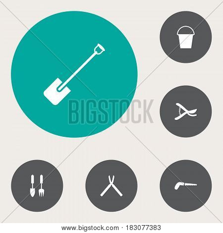 Set Of 6 Horticulture Icons Set.Collection Of Scissors, Shovel, Bucket And Other Elements.