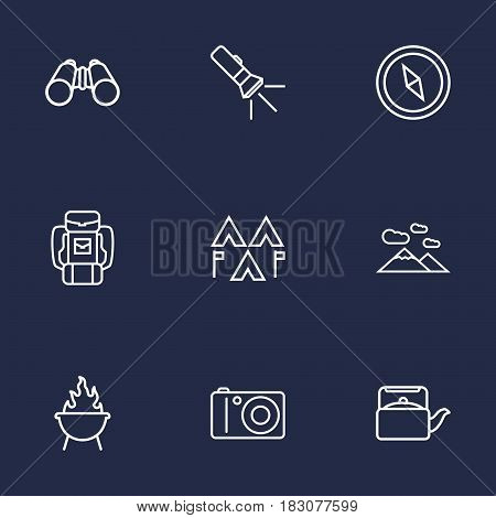 Set Of 9 Outdoor Outline Icons Set.Collection Of Teapot, Encampment, Compass And Other Elements.