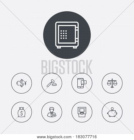 Set Of 9 Sponsor Outline Icons Set.Collection Of Justice, Electron Payment, Money Box And Other Elements.