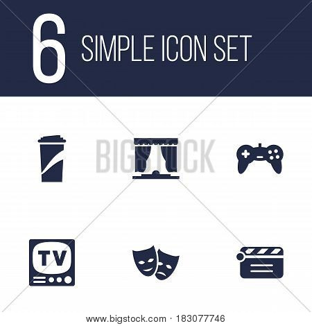 Set Of 6 Entertainment Icons Set.Collection Of Television, Joystick, Curtain And Other Elements.