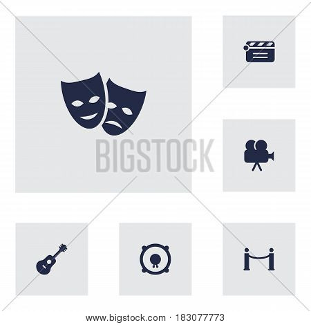 Set Of 6 Pleasure Icons Set.Collection Of Theater, Acoustic, Camera And Other Elements.