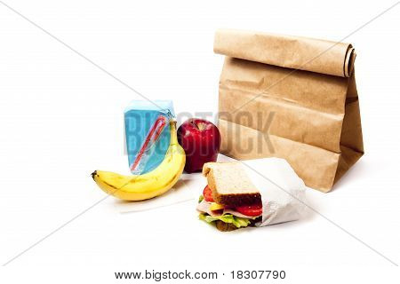 Healthy School Lunch With Brown Bag