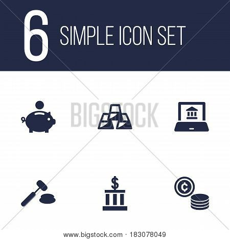 Set Of 6 Budget Icons Set.Collection Of Building, Cash, Ingot And Other Elements.