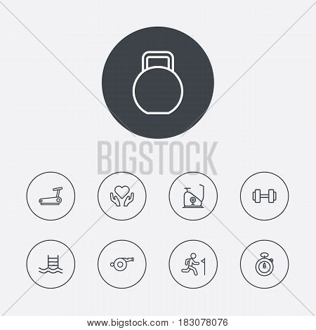 Set Of 9 Fitness Outline Icons Set.Collection Of Whistle, Running Track, Stopwatch And Other Elements.