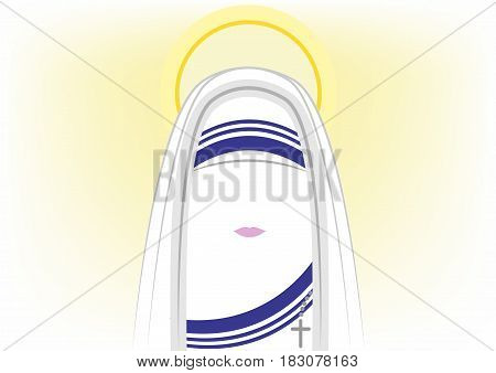 icon Mother Teresa of Calcutta, the Missionaries of Charity, isolated vector