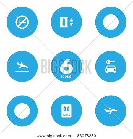 Set Of 6 Airplane Icons Set.Collection Of Aircraft, Letdown, Lift And Other Elements.