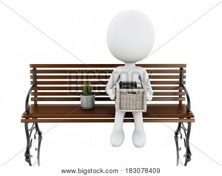 3D White People Seated On A Bench With His Stuff