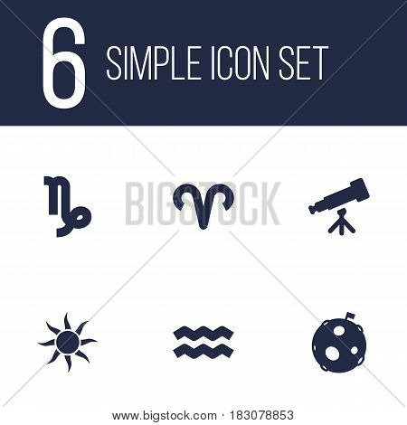 Set Of 6 Astronomy Icons Set.Collection Of Goat, Binoculars, Solar And Other Elements.