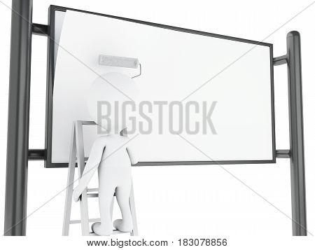 3D White People Painting Blank Street Advertising Billboard