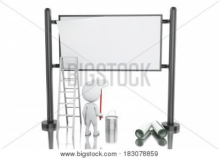 3d illustration. White people painting blank street advertising billboard. Isolated white background