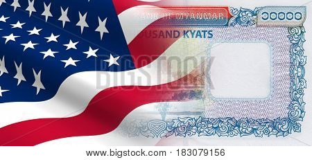 The concept of economic and political relationships the United States with Myanmar. 3D illustration.