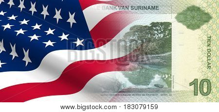 The concept of economic and political relationships the United States with Suriname. 3D illustration.