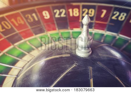 old vintage roulette and gamble for risk concept.