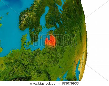 Latvia On Model Of Planet Earth