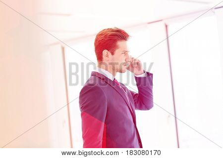Side view of young businessman using mobile phone in new office
