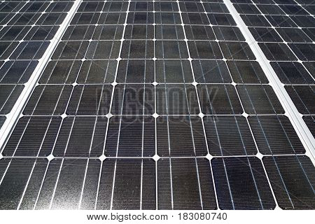 Detail of a photovoltaic panel for renewable electric production.