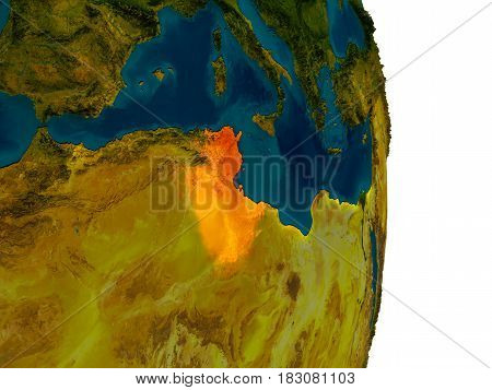 Tunisia On Model Of Planet Earth