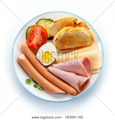 Breakfast with sausages and egg