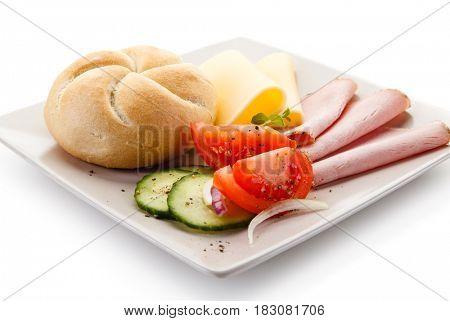Breakfast - ham and cheese sandwich